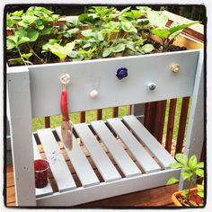 Garden box use knobs (I even saw some at Dollar Store). Very shabby chic