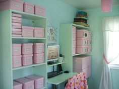 """BASE LAYOUT & COLORS ~~ Sometimes I have no idea where to start......this is a basic open cabinet arrangement but still pretty. Love the colors. Nice variety of storage boxes -- great idea for the round """"window"""" on the boxes at the far end. Smart use of small space between cabinets -- mini-desk, narrow wall shelf, memo board."""