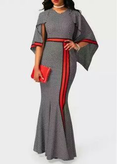 High Waist V Neck Printed Maxi Dress
