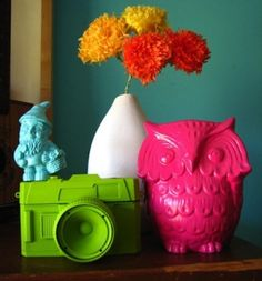 Take some old figurines and spray paint it with bright colours