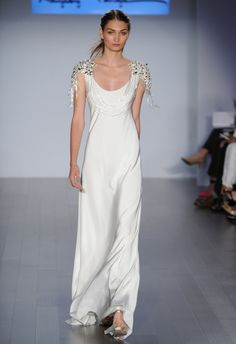 Beaded Shoulder Sheath Wedding Dress | Hayley Paige Wedding Dresses Spring 2015 | Kurt Wilberding | blog.theknot.com