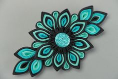 Black and turquoise handmade hair clip by HairAccessoriesStore
