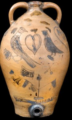 19th c. Antique Folk Art Americana Stoneware vessel by Paul Cushman, Albany NY, with Birds and Heart. americanaweek.com
