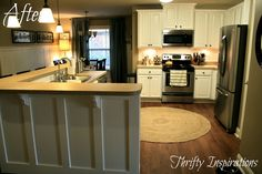 Board and Batten Kitchen Island with Corbels   Thrifty Inspirations: Painted Kitchen Cabinets Reveal -