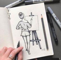 Disney Art Drawings Sketches Pencil Coloring 17 New Ideas Easy Pencil Drawings, Easy People Drawings, Easy Doodles Drawings, Drawing People, Simple Doodles, Sketches Of People, Easy Doodle Art, Easy Animal Drawings, Girl Drawing Sketches