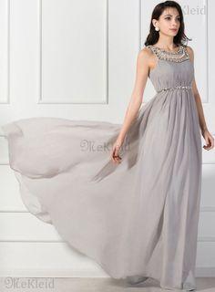 A-Line bodenlanges extravagantes formelles Abendkleid aus Chiffon mit Kristall