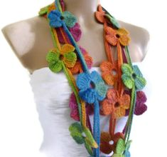Flower Lariat Scarf, multicolor scarf with crochet flower patterns , hand-made,fashion,gift, unique