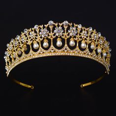 High quality Handmade Crystal pearl Crowns Bridal wedding Hair tiaras women party Miss beauty Gold hair accessories jewelry