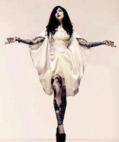 Kat Von D in a skull dress by Alexander McQueen