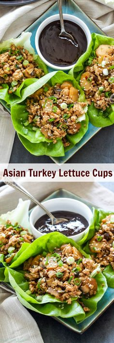 Asian Turkey Lettuce Cups   Save calories and money by making your own delicious Asian Turkey Lettuce Cups at home! A fun and easy dinner or appetizer!