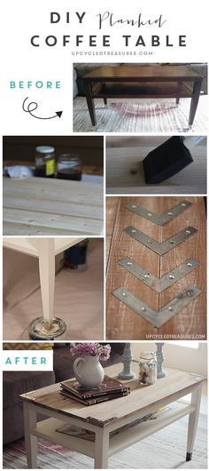 DIY Planked Farm Style Coffee Table | Upcycledtreasures.com #coffeetable #upcycle
