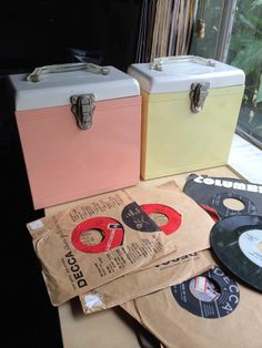 2 Metal Amfile Platter-Pak 45 RPM Cases Vintage Retro Vinyl Record Box