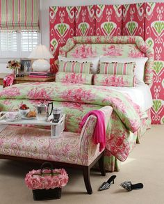 Toile Comforter, Pillows & Headboard.  The pink and green is so pretty!