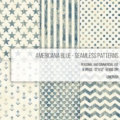 Americana Blue Digital Papers Seamless Patterns Scrapbooking Background Stars and Stripes Hearts Polka Dots Anchor Wallpaper Vintage Rustic by LinePush on Etsy rustic design boho weddings