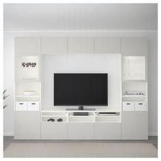 IKEA - BESTÅ TV storage combination/glass doors white, Lappviken light