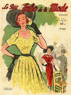 One of a set of 4 original French fashion magazine covers from the 1950s. This group of fashion prints shows some delightful summer dresses from the era. It features dresses at the race track, cherry picking, and evening gowns. Ladies in Hats at a Race Meeting.