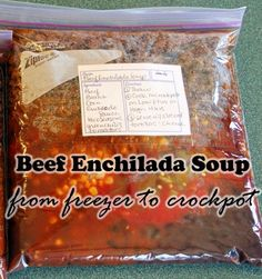 Kids, Cows and Grass: Beef Enchilada Soup--freezer to crockpot! Slow Cooker Recipes, Crockpot Recipes, Soup Recipes, Cooking Recipes, Slow Cooking, Enchilada Soup, Beef Enchiladas, Crock Pot Soup, Pinterest Recipes