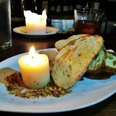 """Who said romance was dead? """"Schmaltz candle""""... made from chicken fat on gremolata crumbs @CampUpstairs! #BestowMyHeart... #Foreplay to The Dirty Burger #GangBang.   Bread and butter what?!"""