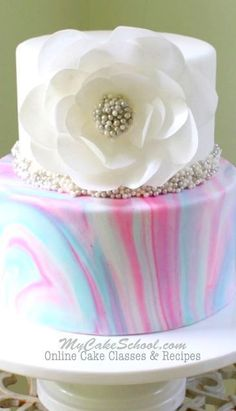 Beautiful Marbled Fondant with Elegant Wafer Paper Flower. Cake Decorating Video Tutorial by My Cake School!
