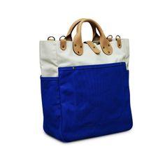 color block tote || Garrison bag (Natural/Cobalt bue)