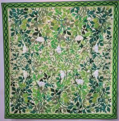 """""""Green Curtain"""" by Sumiko Aoki.  2015 Tokyo International Quilt Festival.  Photo by Julie Fukuda 