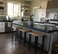 Warehouse Kitchen, Ashley Furniture Chairs, Office Waiting Room Chairs, Backless Bar Stools, Bar Chairs, Wood And Metal, Barn Wood, Planer, Kitchen Design