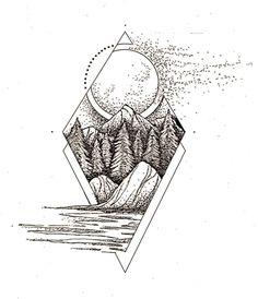 """87 Me gusta, 7 comentarios - Tofer Omen (@tofutatu) en Instagram: """"Tattoo design #mountaintattoo #geometrictattoo #moontattoo #foresttattoo"""""""