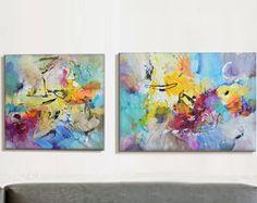 Moderno arte abstracto pintura, díptico, Original pintura arte de la lona, pintura lienzo, arte, sala de estar, gran Resumen Paintin abstracta