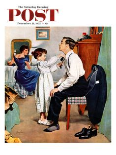 Fixing Father's Tie Saturday Evening Post Cover, December 31, 1955 Giclee Print by George Hughes