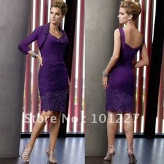 MOD619 Beautiful Ruched Purple Chiffon Knee length Mother of the Bride Dress with Jacket