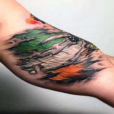 Green Orange And White Irish Flag Mens Torn Skin Arm Tattoo