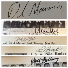 1960 US Olympic Book. Signed by David Maraniss, Jerry West, Bob Foster, Lou Brock, Walt Bellamy.