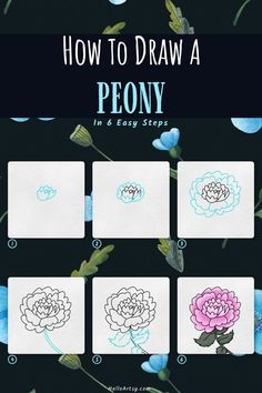 Flower Drawing For Kids, Simple Flower Drawing, Peony Drawing, Easy Flower Drawings, Flower Drawing Tutorials, Simple Flowers, Easy Drawings, Flower Drawing Tutorial Step By Step, Draw Your