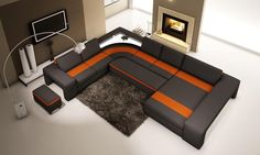 VGEV5030-Divani Casa 5030 Modern Black and Orange Bonded Leather Sectional SofaFinishing: Black and Orange Bonded LeatherDimensions:3 Seater: W83