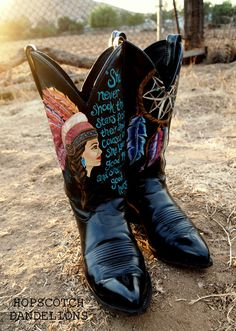 Yipiokya Indian Princess boots custom painted by Hopscotch Dandelions https://www.facebook.com/HopscotchDandelions