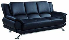 U9908 Series Black Bonded Leather Sofa