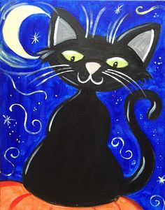 Halloween canvas painting for kids, easy Halloween cat, learn to paint with acrylics step by step Halloween Canvas Paintings, Fall Canvas Painting, Canvas Painting Tutorials, Halloween Painting, Moon Painting, Halloween Cat, Painting For Kids, Halloween Drawings, Acrylic Canvas
