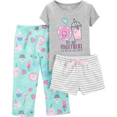 Versatile bedtime style is effortless with this girls' Carter's tops, shorts and pants pajama set. Baby Outfits, Pajama Outfits, Toddler Outfits, Kids Outfits, Cute Outfits, Toddler Girls, Cute Pajama Sets, Cute Pjs, Cute Pajamas