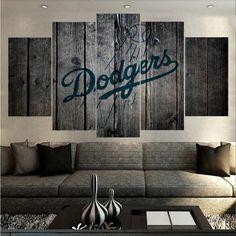 Los Angeles Dodgers MLB Baseball 5 Panel Canvas Wall Art Home Decor