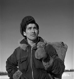 First Nations man, Johnny Smallboy, at Moose Factory, Ontario, Canada, January 1946. #vintage #Canada #1940s