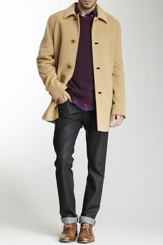 Cole Haan Classic Wool Blend Camel Topper Coat