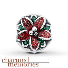 Only Available for Christmas 2013 Charmed Memories Poinsettia Charm Sterling Silver