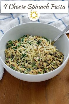 20 minutes · Vegetarian Gluten free · Serves 4 · Four Cheese Spinach Pasta is a great option for a quick dinner and a way to add a lot of flavor to a batch of quinoa. #pasta #quinoa #vegetarian Easy Appetizer Recipes, Potluck Recipes, Easy Dinner Recipes, Seafood Recipes, Pasta Recipes, Potluck Meals, Dinner Ideas, Appetizers, Spinach Pasta