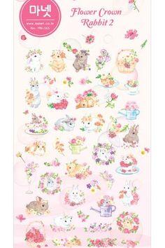 Kawaii Korean Manet Sticker Set - Flower Crown Rabbit 2