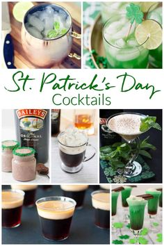 Mix up a fabulous drink from this collection of St. Patrick's Day Cocktails #stpatricksday #cocktails St Patrick's Day Cocktails, Baileys Original, Easy Mixed Drinks, Non Alcoholic Drinks, V60 Coffee, Cocktail Recipes, St Patricks Day, Fun Activities, Holiday Fun