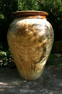 s měděným hrdlem  keramická váza, pálená na 1170°C,Točená na kruhu