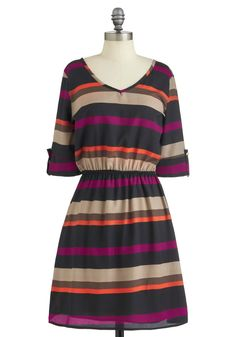 Sedona Stripes Dress - Mid-length, Multi, Orange, Purple, Brown, Grey, Stripes, A-line, 3/4 Sleeve, Fall, Casual, V Neck