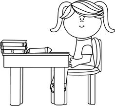 student desk clipart black and white. black and white school girl sitting at a desk clip art - vector image student clipart
