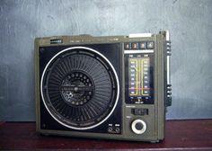 Vintage Army Green Rugged Portable AM FM Radio by cowboysandindie, $24.00