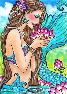 VISIT TO LOTUS GARDEN   aceo print mermaid flowers. $5.00, via Etsy.